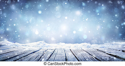 空, 板, 寒い, 雪が多い, テーブル, 冬, 積雪量, -
