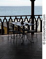 空, 桌子, 在中, 咖啡馆