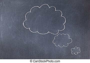 空, 泡, 黒板, 雲