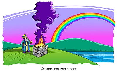 空, 洪水, 犠牲, 作られた, 後で, 虹, ノア