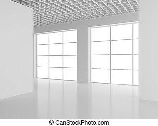 空, 白い部屋, 内部, オフィス。, 3d, レンダリング
