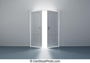 空, 白色 室, 由于, 打開, 門
