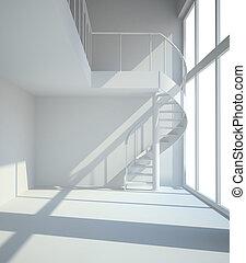 空, 白色 室, 由于, staircasel, 在, 等待, 為, 租戶, 插圖
