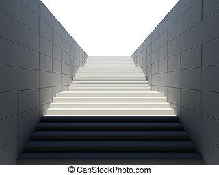 空, 白, 階段, 中に, 歩行者, 地下鉄