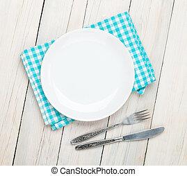 空, 盤子, 銀器, 以及, 毛巾, 在上方, 木製的桌子, 背景