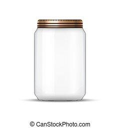 空, 矢量, 樣板, 或者, 罐裝, 設計, 覆蓋, 玻璃罐子, lid., conservation.