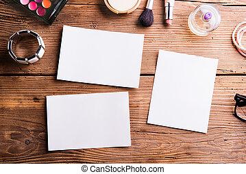 空, 紙, 單子, 放置, 上, 桌子。, 組成, products.