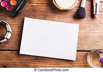 空, 紙, 表, 放置, 上, 桌子。, 組成, products.