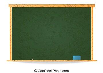空, 緑, 学校, 黒板, 中に, 木製のフレーム, ∥で∥, チョーク, そして, スポンジ, 上に, 棚, 白