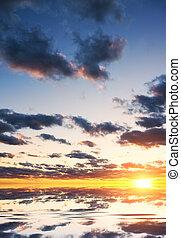 空, 背景, sunset.