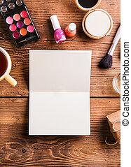 空, 賀卡, 放置, 上, 桌子。, 組成, products.