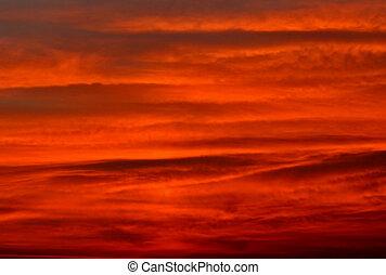 空, 赤い背景