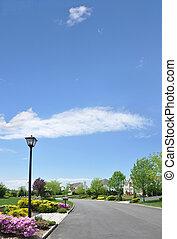 空, 郊外, 近所の街路