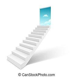 空, 階段, 開いた, はしご, ドア, 天国, 階段, 概念