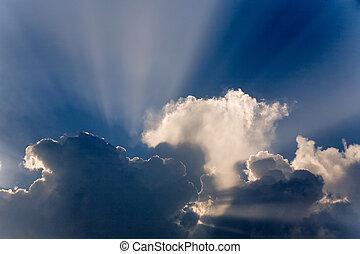 空, 雲, 日の出, sunrays