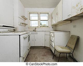 空, 骯髒, kitchen.