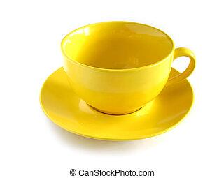 空, 黄色, カップ