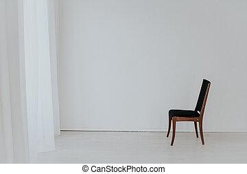 空, 1(人・つ), 部屋, 型, 椅子, 黒, 白