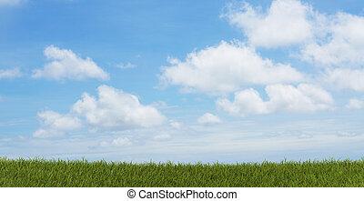 空, 3d-illustration, 緑の草, フィールド