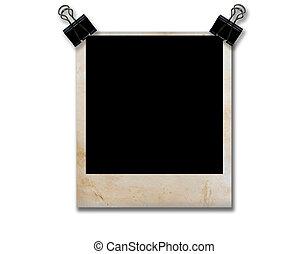 空, grunge, 照片框架, 由于, 黑色, 夾子, 孤立