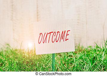 空, land., outcome., 最終的, 結果, ペーパー, 端, いかに, 緑, 方法, 置かれた, 執筆, テキスト, 単語, 何か, 草が茂った, 平野, 付けられる, ビジネス, スティック, もの, の上, 概念, ∥あるいは∥