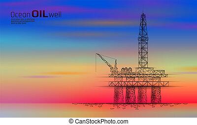 空, poly, 用具一式, 青, ビジネス, デリック, concept., 石油, 抽出, 低い, 燃料, 沖合いに, 経済, 点, オイル, 金融, カラフルである, ガソリン, ガス, production., ボーリングする, 線, イラスト, 産業, 海洋, ベクトル, 日没