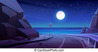 空, seaview, 道, ハイウェー, 夜, 山