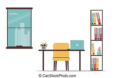 空, workplace., 套間, 矢量, 架子, documents., 插圖, 罐, laptop., 花, 書桌, 窗口。, 背景。, 研究, 被隔离, 辦公室