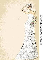 穿結婚禮服的新娘, 由于, a, 束玫瑰, 上, a, 粉紅背景