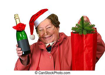 穿著, 聖誕節, 婦女, 紅色, 聖誕老人, 向上, 服裝