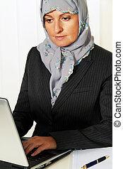 穿, 婦女, islam., 相片, 穆斯林, headscarf, 圖象