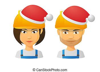 穿, 工作, 帽子, 聖誕老人, 人們