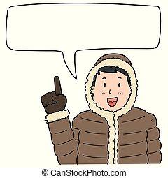 穿, 布, 矢量, 冬天, 人