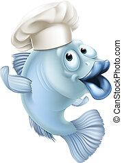 穿, 廚師, fish, 帽子, 卡通