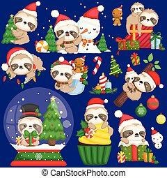 穿, 懶惰, 集合, 漂亮, 矢量, 裝飾, stuffs, 聖誕節