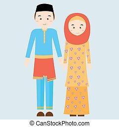 穿, 文萊, 婦女, 伊斯蘭教, 衣服, 夫婦, malay, 插圖, 傳統, 馬來西亞, 矢量, 服裝, 女性, 人, 男性, 面紗, 給穿衣