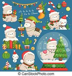穿, 漂亮, 集合, 裝飾, 矢量, 美洲駝, stuffs, 聖誕節