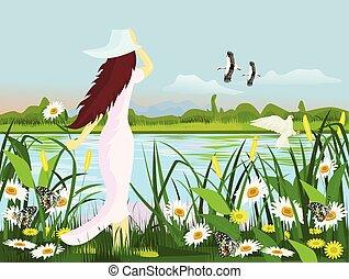 穿, 站立, 婦女, 山, 森林, 鳥, 花, 沼澤, 邊緣, 帽子, 背景, 白色的服裝, 蝴蝶