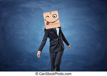穿, 箱子, 頭, 他的, 眨眼, 臉, 商人, 畫, 紙板