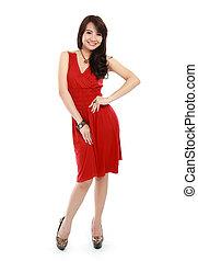 穿, 美麗, 衣服, 行動, 夫人, 紅色
