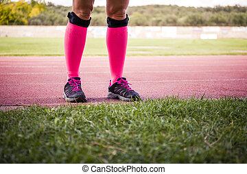 穿, 設備, 腿, 運動, 女性