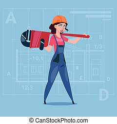 穿, 鋼盔, 女性, 在上方, 工人, 摘要, 制服, 建設, 計劃, 背景, 卡通, 建造者