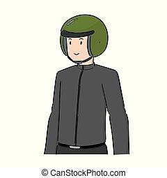 穿, 鋼盔, 矢量, 人