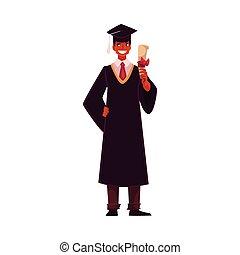 穿, 長袍, 學生, 畢業証書, 畢業, 傳統, 藏品, 帽子