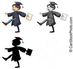 穿, 長袍, 集合, 畢業, 人