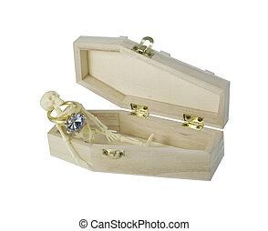 穿, 骨骼, 訂婚戒指, 棺材, 躺