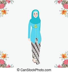 穿, kebaya, 印度尼西亞, 衣服, 傳統, 背景, 爪哇語, 植物, 面紗, 婦女