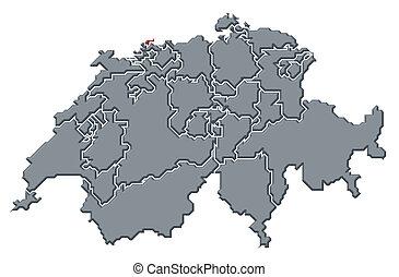 突出, 地图, swizerland, basel-stadt
