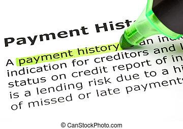 突出, 'payment, 綠色, history'