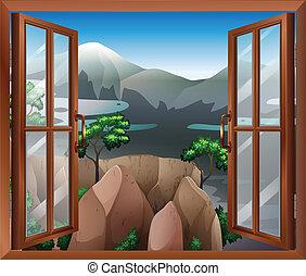 窓の眺め, 開いた, 崖